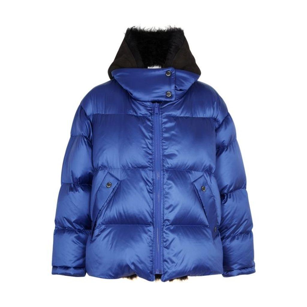 Yves Salomon Metallic Blue Shearling-lined Shell Jacket
