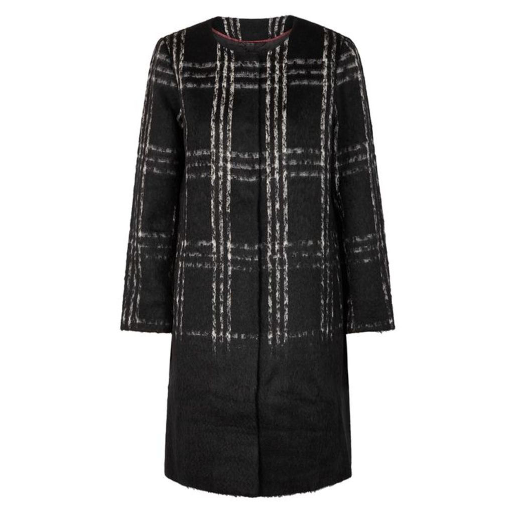 EILEEN FISHER Monochrome Plaid Knitted Jacket