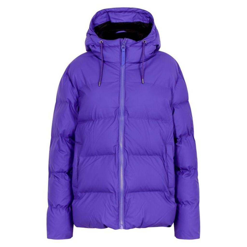 Rains Purple Rubberised Quilted Jacket