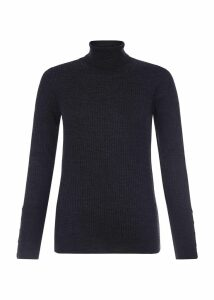 Lara Merino Wool Rib Roll Neck Charcoal