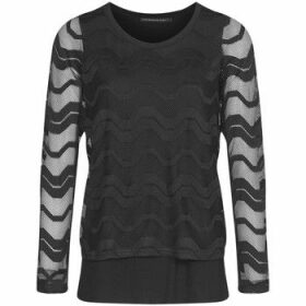 Mado Et Les Autres  Spandex viscose tunic with a fantasy knit crop top  women's Tunic dress in Black