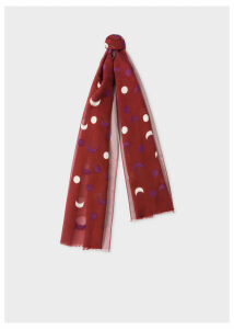 Women's Burgundy Fil Coupé Moon Pattern Cotton-Silk Scarf