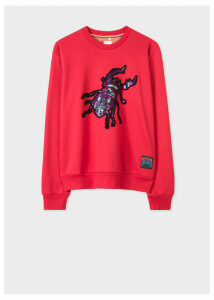 Women's Red Sequin 'Beetle' Cotton Sweatshirt