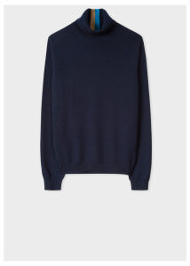 Women's Dark Navy Cashmere Roll-Neck Sweater