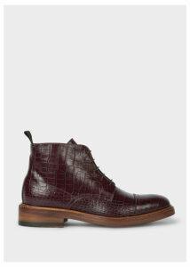 Women's Burgundy Mock-Croc Leather 'Jarman' Boots
