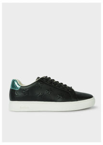Women's Black Leather Star-Emboss 'Lapin' Trainers