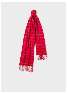Women's Pink and Red Check Cashmere Scarf