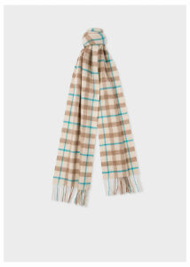 Women's Cream and Taupe Check Cashmere Scarf