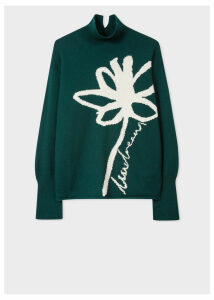 Women's Dark Green Lambswool 'Floral' Intarsia Funnel-Neck Sweater
