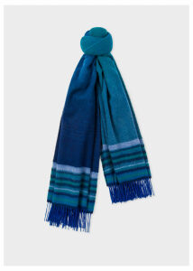 Women's Blue Ombré Lambswool And Cashmere Scarf