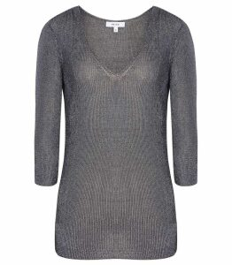 Reiss Carissa - Metallic Knitted Top in Steel Blue, Womens, Size XXL