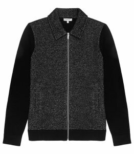 Reiss Gore - Tweed Front Zip Through in Black, Mens, Size XXL