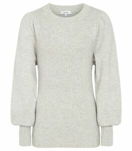 Reiss Wynne - Flute Sleeved Jumper in Light Grey, Womens, Size XXL