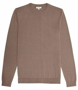 Reiss Maurice - Crew Neck Jumper in Taupe, Mens, Size XXL