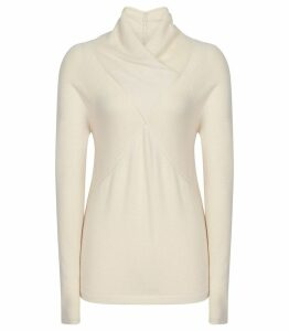 Reiss Torah - Wool Blend Twist Neck Jumper in Off White, Womens, Size XXL