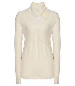 Reiss Torah - Wool Blend Twist Neck Jumper in Off White, Womens, Size XXL