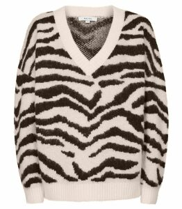 Reiss Zana - Jacquard Knit Jumper in Monochrome, Womens, Size XXL