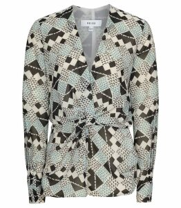 Reiss Livinia - Geometric Print Top in Multi, Womens, Size 14