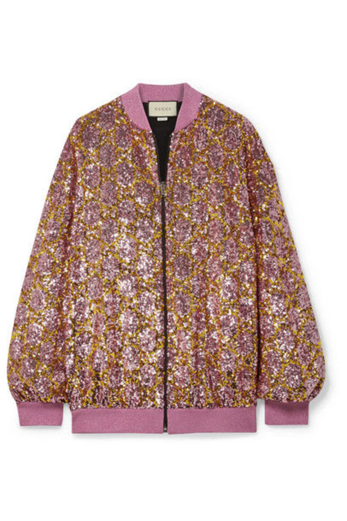 Gucci - Sequined Tulle Bomber Jacket - Baby pink