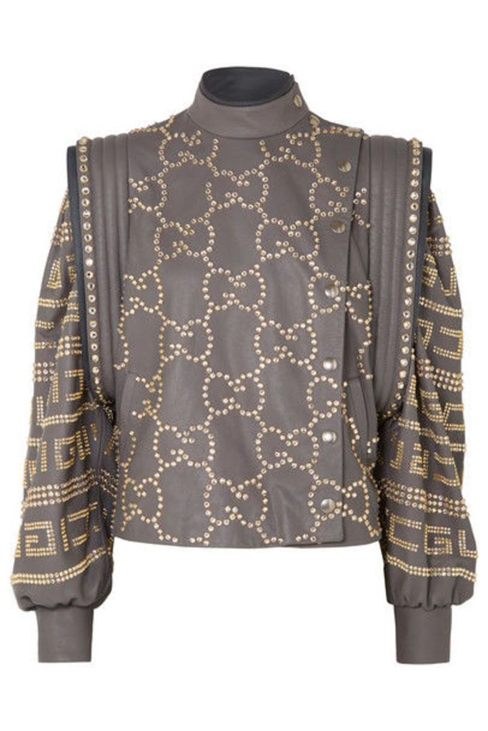 Gucci - Cropped Crystal-embellished Leather Jacket - Gray