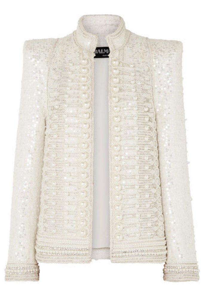 Balmain - Embellished Crepe Jacket - Ivory