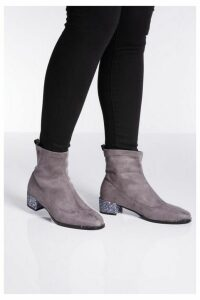 Quiz Grey Faux Suede Jewel Heel Sock Boots