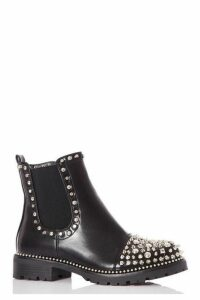 Quiz Black Stud Toe Ankle Boots