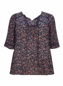 Navy Blue Ditsy Print Blouse, Navy