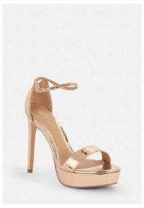 Rose Gold Simple Strap Platform Sandals, Gold