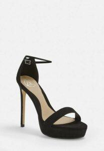 Black Faux Suede Simple Strap Platform Heeled Sandals, Black
