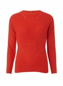 Womens **Tall Red High Neck Zip Jumper- Red, Red