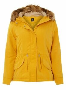 Womens **Only Mustard Faux Fur Parka Coat- Yellow, Yellow