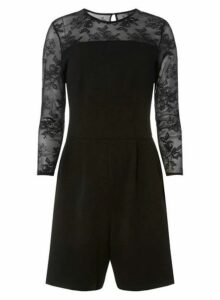 Womens **Tall Black Mesh Sleeve Playsuit, Black