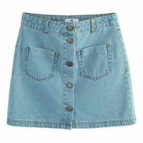 Denim Pencil Skirt with 2 Patch Pockets
