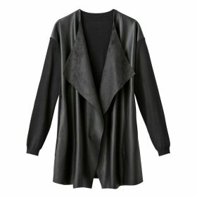 Dual Fabric Open Waterfall Cardigan