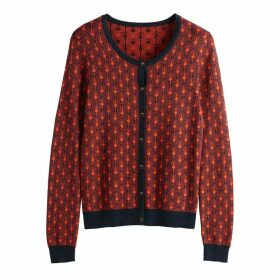 Two-Tone Jacquard Cardigan with Crew Neck