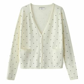 Boxy Cotton Polka Dot Print Cardigan