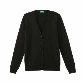 Buttoned Fine Knit V-Neck Cardigan