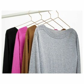 Cashmere Fine Knit Jumper with Boat Neck