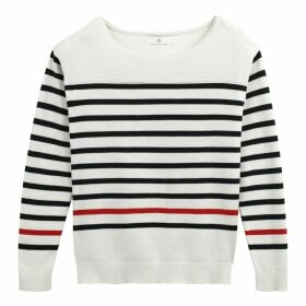 Long-Sleeved Striped Crew Neck Jumper