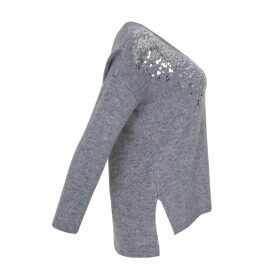 Long-Sleeved Sequined V-Neck Jumper