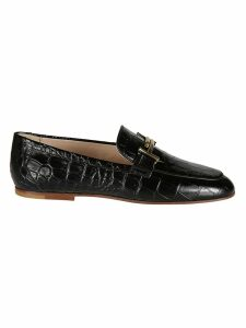 Tods Double T Croc Print Loafers