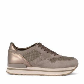 Hogan H222 Dove Suede Sneaker And Metal Leather