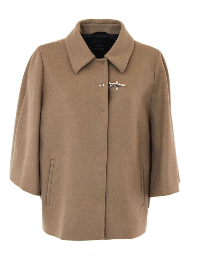 Cape In Camel Cashmere Wool Mix.