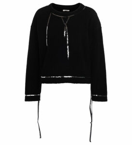 Mm6 Maison Margiela Black Wool Fleece With Sequins