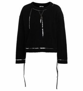 Mm6 Maison Margiela Black Wool Fleece With Sequins