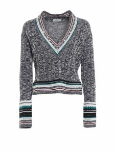 Dondup Embellished Melange Wool Blend V-neck
