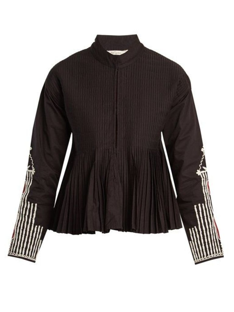 Mes Demoiselles - Artemis Stand Collar Embroidered Pleated Jacket - Womens - Black