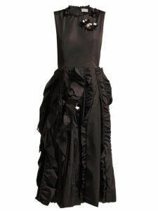 4 Moncler Simone Rocha - Ruffled Midi Dress - Womens - Black