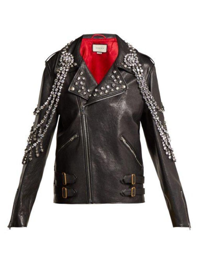 Gucci - Yankees Crystal Embellished Leather Biker Jacket - Womens - Black Multi